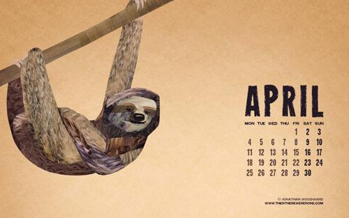 Calendario con perezoso - Abril 2011